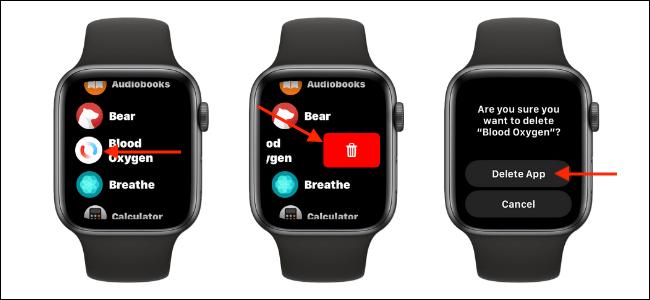 Eliminar la aplicación Blood Oxygen de la vista de lista en Apple Watch