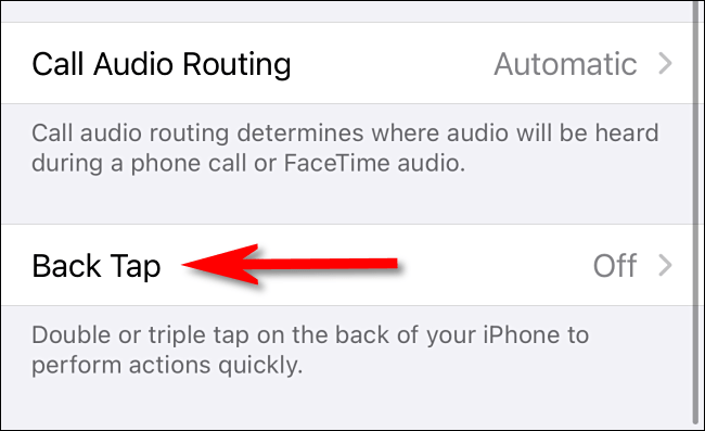 """En la configuración de Accessibility Touch en iPhone, seleccione """"Back Tap""""."""