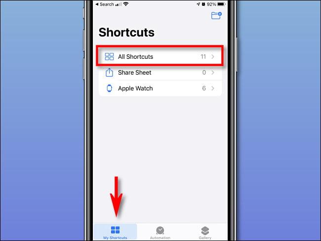"""Toque """"Mis accesos directos"""" y """"Todos los accesos directos"""" en el iPhone."""