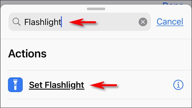 """En Accesos directos, busque """"linterna"""" y luego toque """"Establecer linterna""""."""