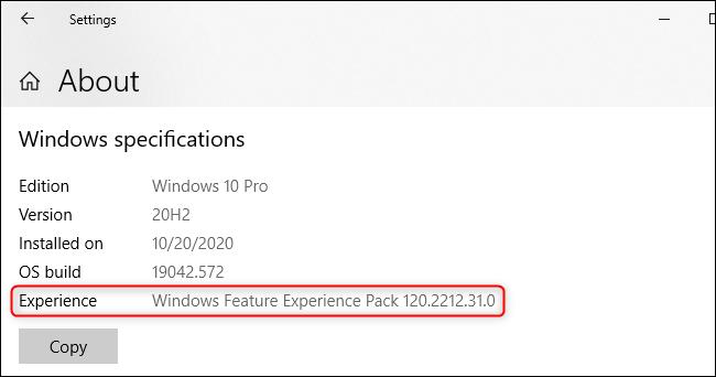 """El """"Paquete de experiencia de funciones de Windows"""" que se muestra en la pantalla Acerca de de Windows 10"""
