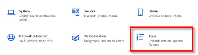 """En la configuración de Windows, seleccione """"Aplicaciones""""."""