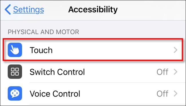 Toque Touch en Configuración en iPhone o iPad